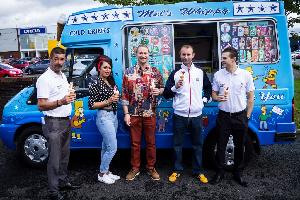 Members of staff from Wessex Garages enjoy ice cream during the Fiat re-launch event.