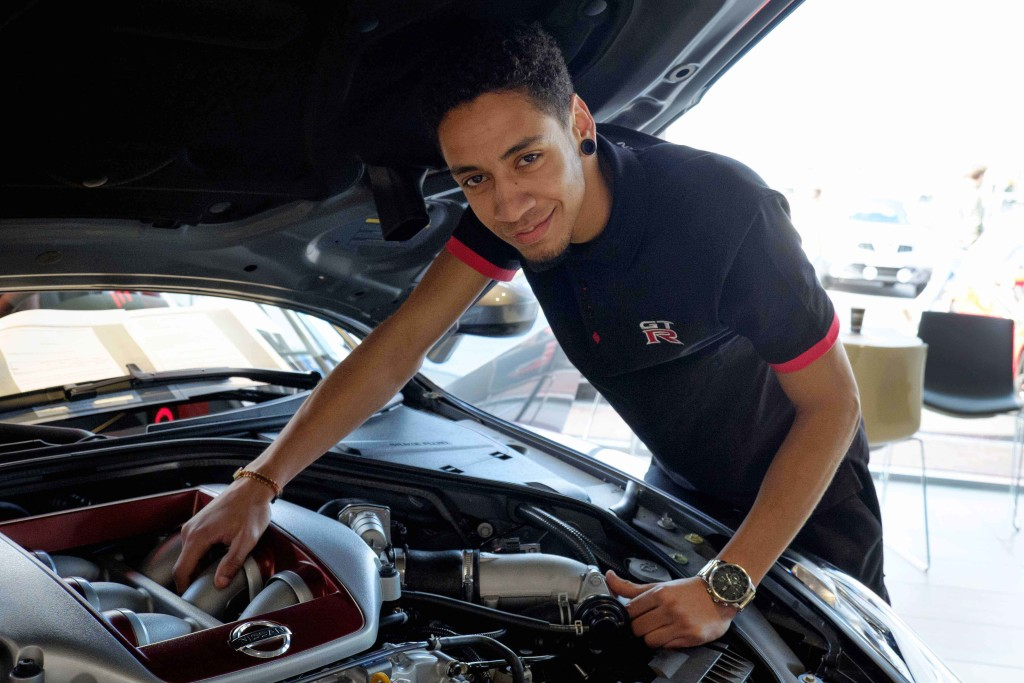 Felipe Alves, Technician at Wessex Garages with the new 2017 Nissan GT-R