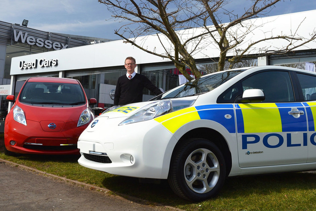 Andy Provis, Group Fleet Manager at Wessex Garages, with the Nissan Leafs for Gloucestershire Constabulary.