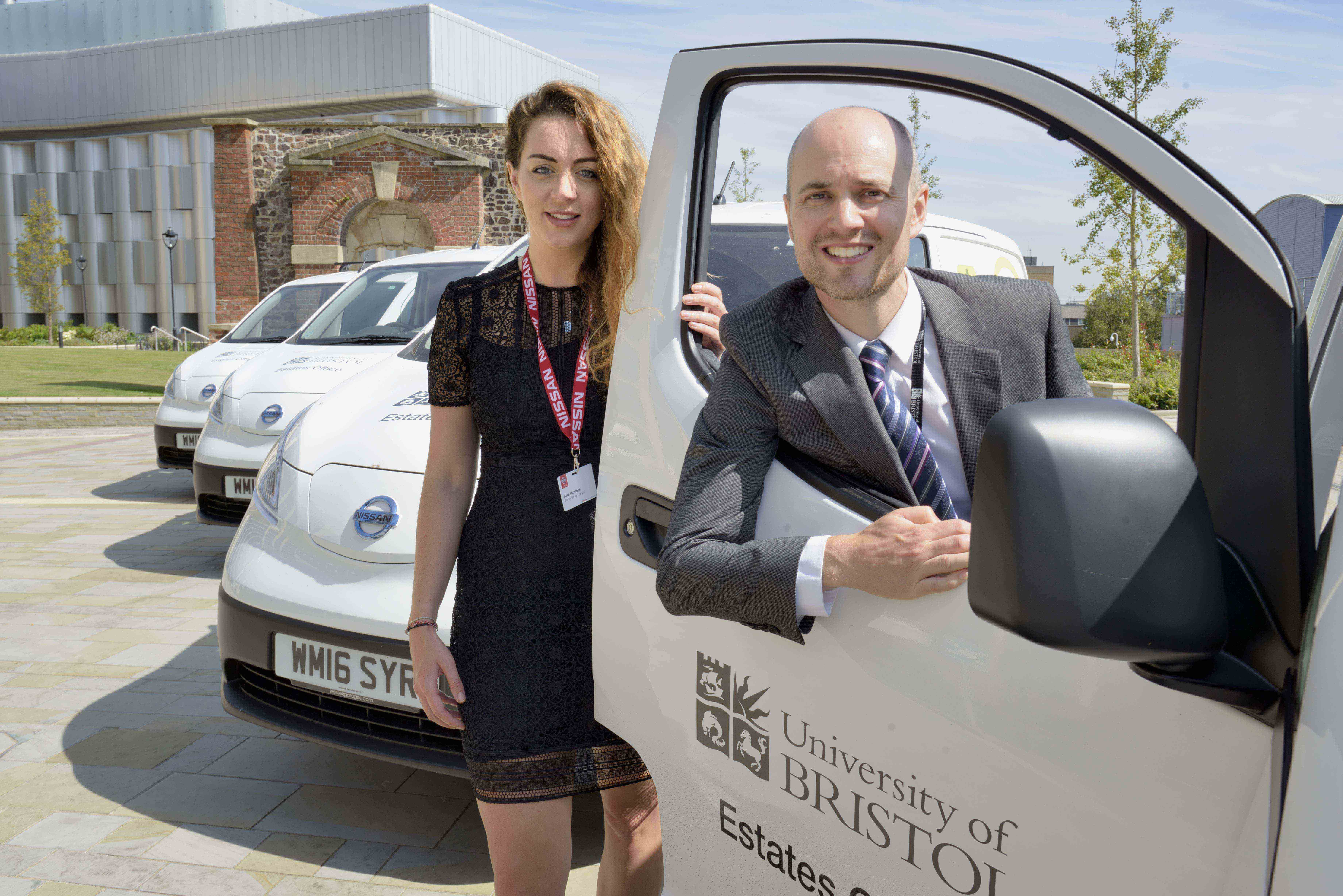 (From left to right) Kate Hancock, Nissan Business Specialist at Wessex Garages on Hayes Way, and David Tonkin, Estates Manager at the University of Bristol, with the four 100% electric, Nissan e-NV200 Combi vans.
