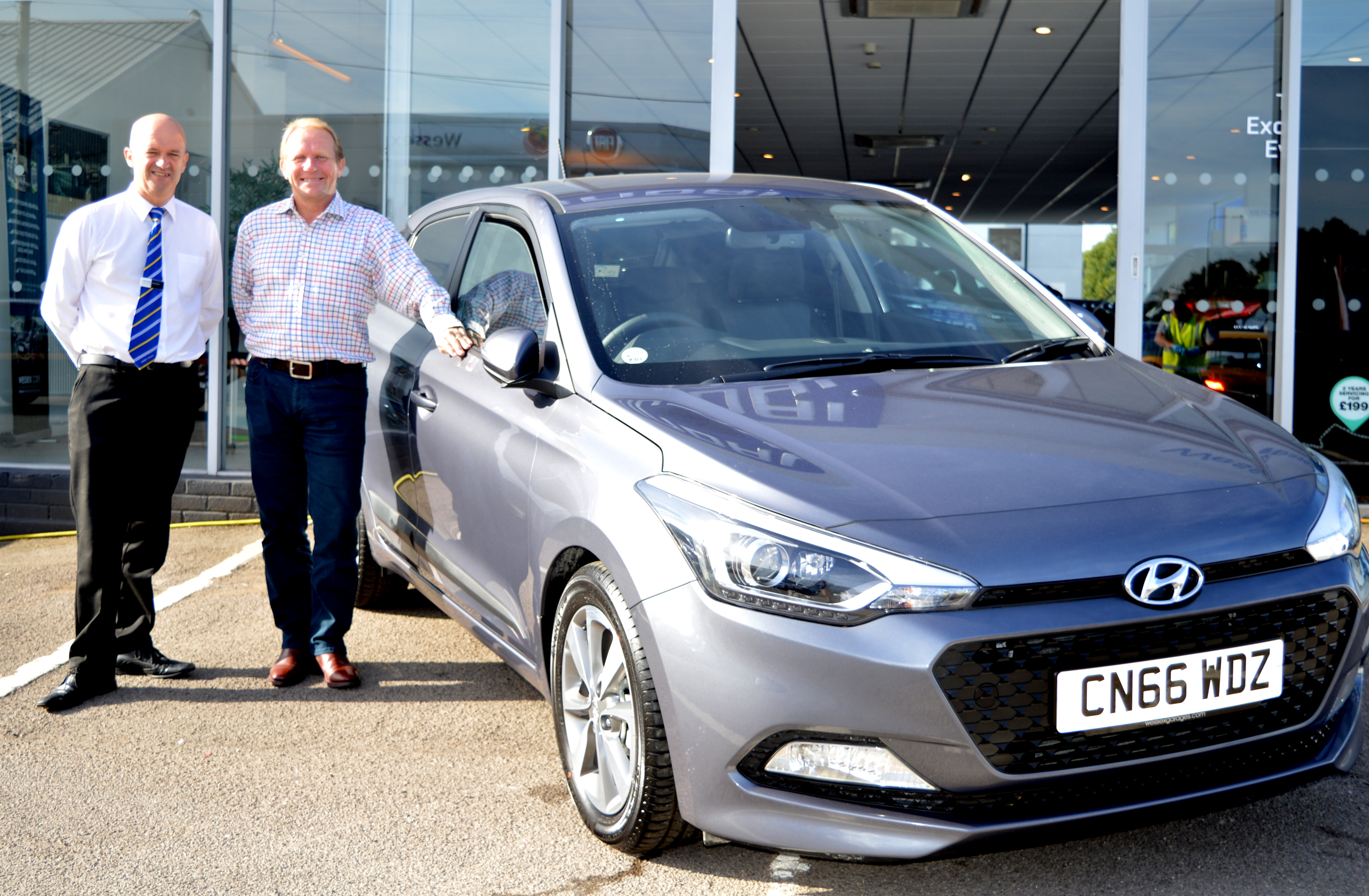 Mr Hodgson with his brand new i20 at our Penarth Road branch.