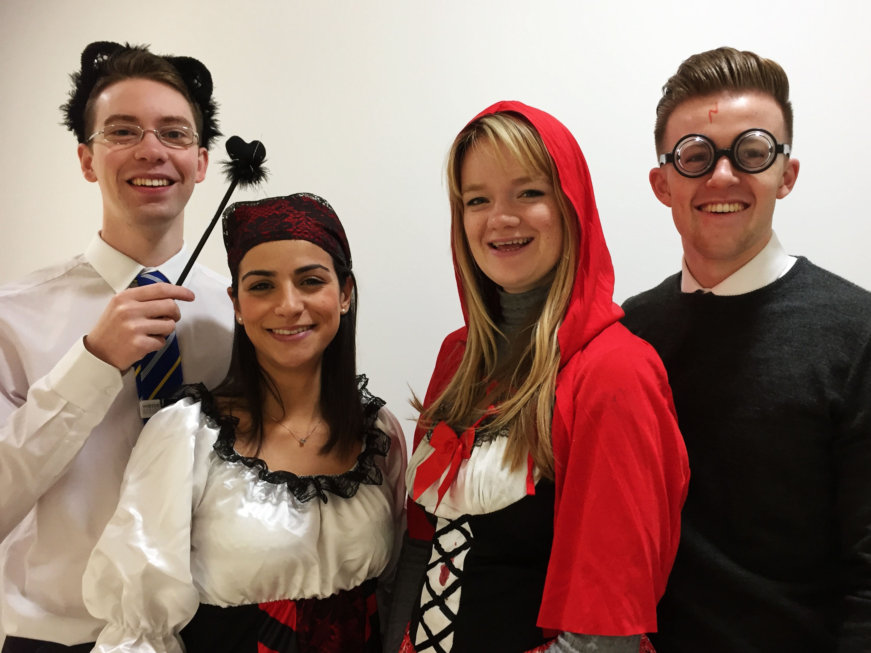(From left to right) Wessex Garages' staff members, IT Assistant, Dan Stevens and Marketing Executives, Lara Tetlow, Silvia Siddi and Joel Clark, get ready for the Halloween Party.